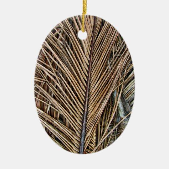 Dried Palm Fronds Ceramic Ornament