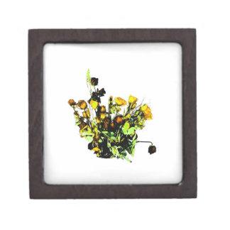 Dried Rose Arrangement yellow theme Jewelry Box