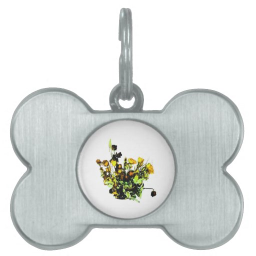 Dried Rose Arrangement yellow theme Pet ID Tag