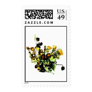 Dried Rose Arrangement yellow theme Stamp
