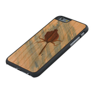 Dried Rose Carved Wood Phone Case