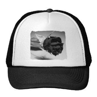 Dried Rose Photograph - Black & White Trucker Hat