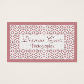 Dried Rose Pink Floral Print Custom Business Cards
