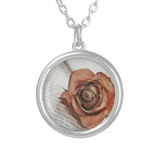 dried rose silver plated necklace