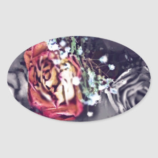 Dried Roses Black and Grey Oval Sticker