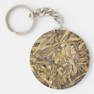 Dried tea leaves of Chinese green tea Keychain
