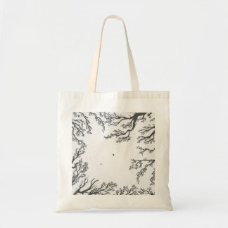 dried tree branches with birds and leaves tote bag