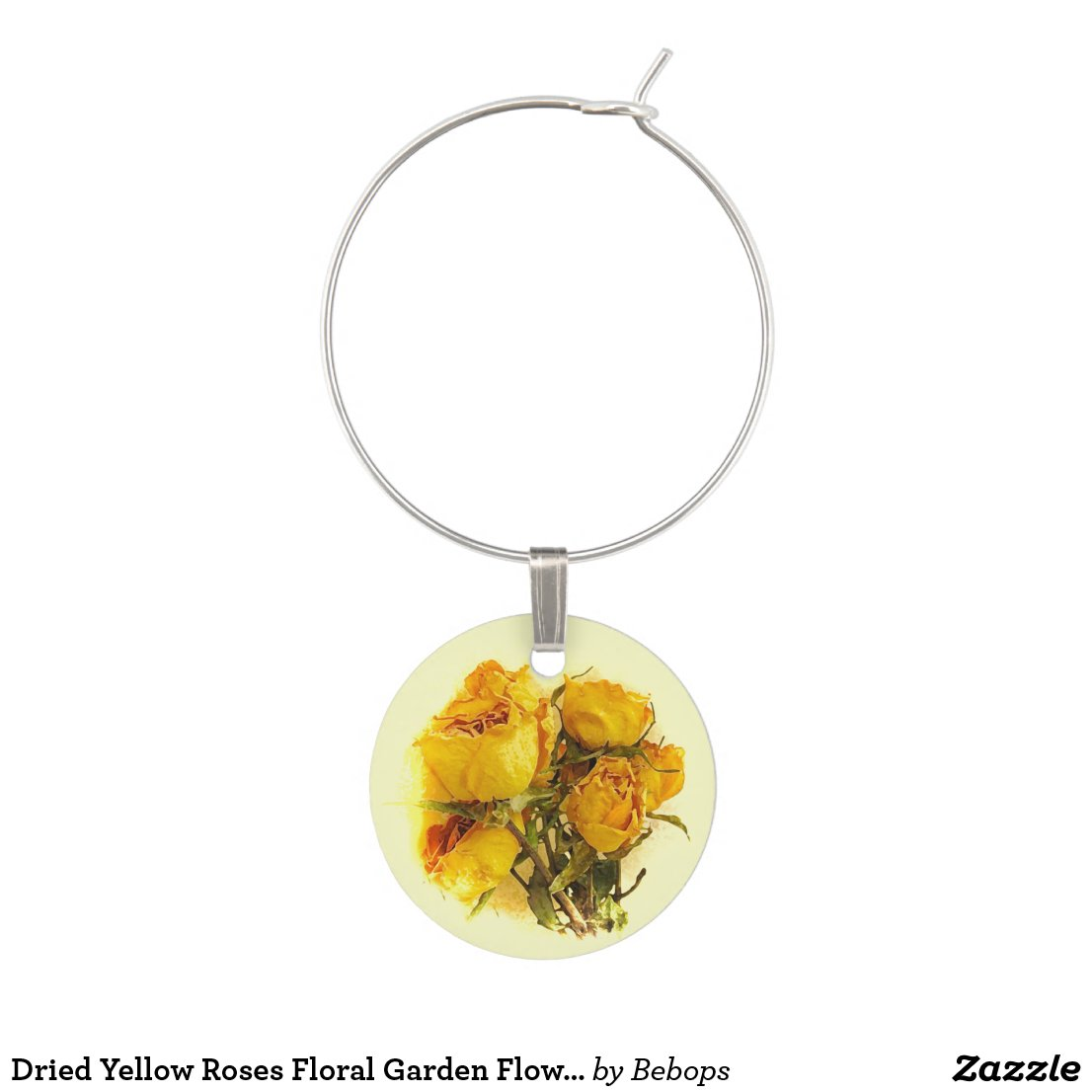 Dried Yellow Roses Floral Garden Flower Wine Charm