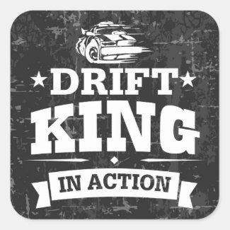 Drift King In Action Sticker