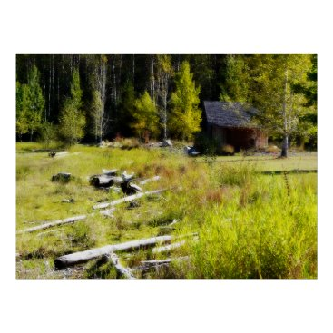 CountryCorner Drift wood and cabin building in Fall. Poster