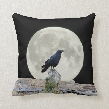 Beach Themed Drift Wood Crow Silhouette and Full Moon Throw Pillow