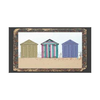 Drift wood frame Beach Huts Art Canvas Print