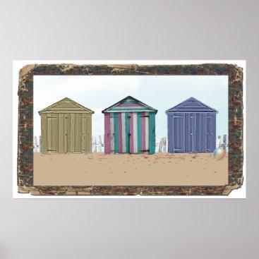 digital_creations Drift wood frame Beach huts art Poster