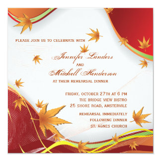 Drifting Fall Leaves - Wedding Rehearsal Invitatio Card