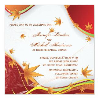 Drifting Fall Leaves - Wedding Rehearsal Invitatio Card