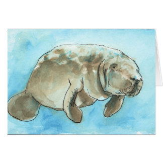 """Drifting Manatee"", a manatee greeting card"