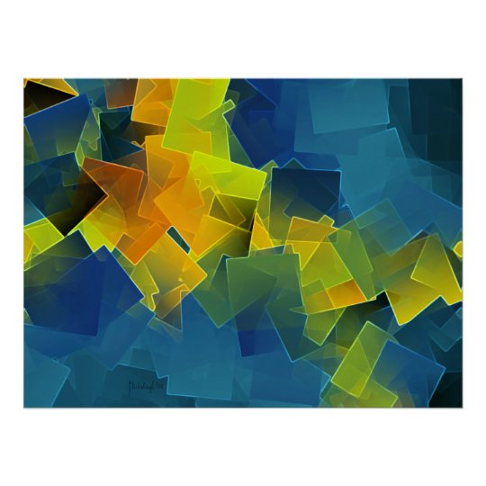 Drifting planes - colorful abstract art print