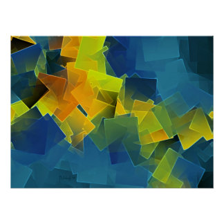 Drifting planes - colorful abstract art print poster
