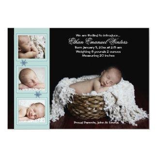 """Drifting Snow - Photo Birth Announcement 5"""" X 7"""" Invitation Card"""