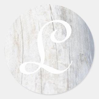 Driftwood adaptable del monograma pegatina redonda