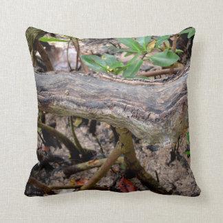 driftwood against buttonwood beach throw pillow