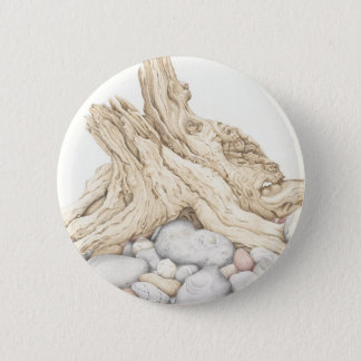 Driftwood and Pebbles Still Life in Pencil Pinback Button