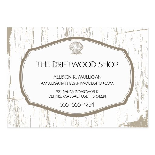 DRIFTWOOD AND SCALLOPED SHELL LARGE BUSINESS CARDS (Pack OF 100)