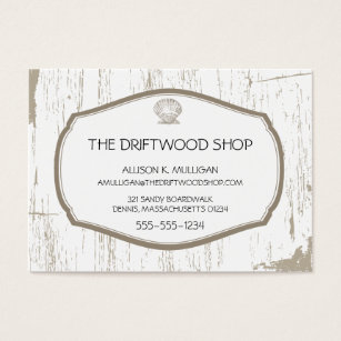 Scalloped shell business cards templates zazzle driftwood and scalloped shell business card colourmoves