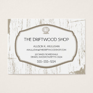 DRIFTWOOD AND SCALLOPED SHELL BUSINESS CARD