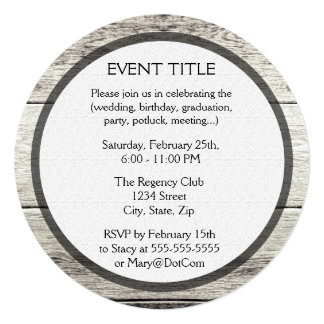 """Driftwood Background 5.25"""" Square Invitation Card"""