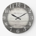 Driftwood Background Large Clock