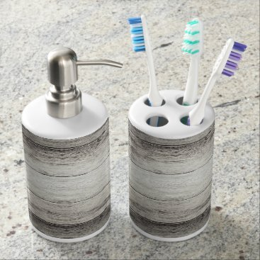 bestcustomizables Driftwood Background Soap Dispenser & Toothbrush Holder