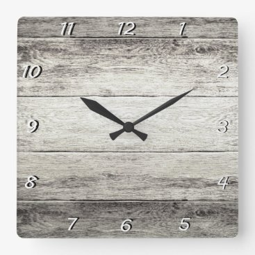 bestcustomizables Driftwood Background Square Wall Clock