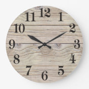 Driftwood Background Texture Large Clock (<em>$31.65</em>)