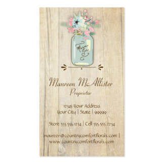 Driftwood Barn Wood Rustic Mason Jar Garden Floral Double-Sided Standard Business Cards (Pack Of 100)