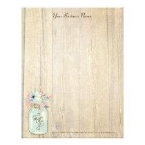 Driftwood Barn Wood Rustic Mason Jar Garden Floral Letterhead