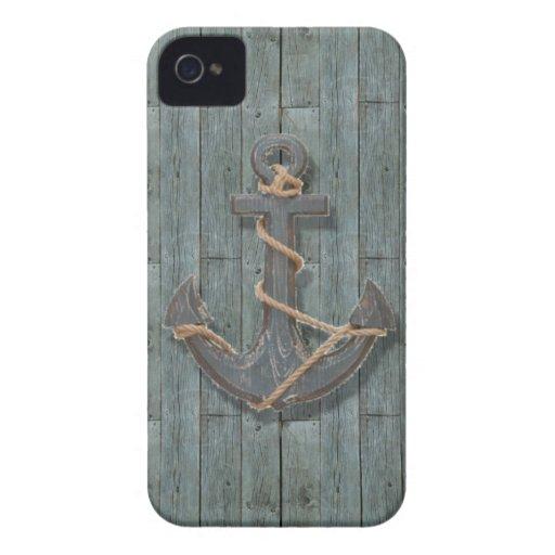 driftwood beach navy blue ship anchor nautical iPhone 4 case