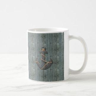 driftwood beach navy blue ship anchor nautical coffee mugs
