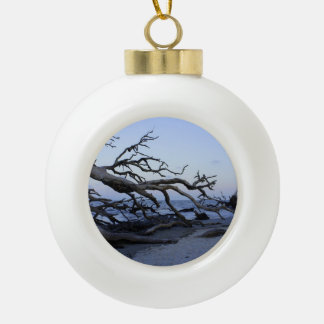Driftwood Beach Ceramic Ball Christmas Ornament