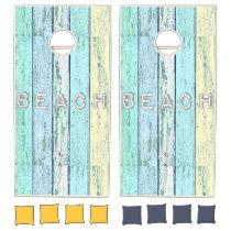 Driftwood Blue Beach Cornhole Set
