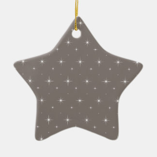 Driftwood Brown And Bright Stars Elegant Pattern Double-Sided Star Ceramic Christmas Ornament