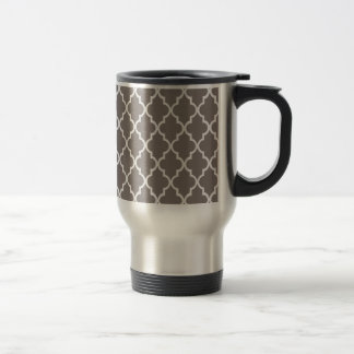 Driftwood Brown And White Moroccan Trellis Pattern Coffee Mugs