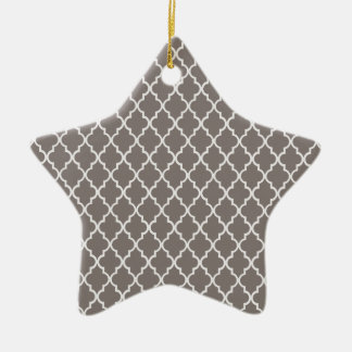Driftwood Brown And White Moroccan Trellis Pattern Double-Sided Star Ceramic Christmas Ornament