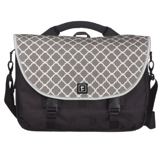 Driftwood Brown And White Quatrefoil. Moroccan Commuter Bags