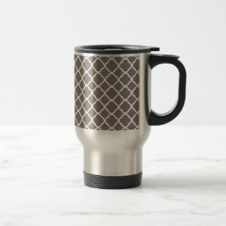 Driftwood Brown And White Quatrefoil. Moroccan 15 Oz Stainless Steel Travel Mug