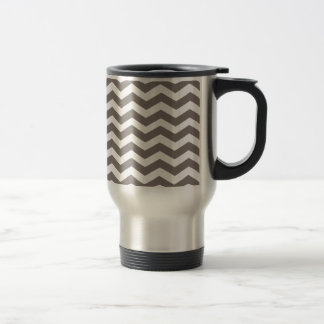 Driftwood Brown And White Zigzag Chevron Pattern 15 Oz Stainless Steel Travel Mug