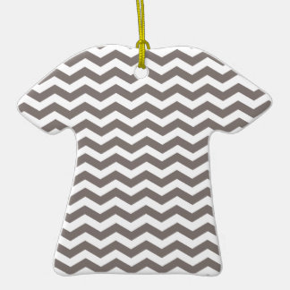 Driftwood Brown And White Zigzag Chevron Pattern Double-Sided T-Shirt Ceramic Christmas Ornament