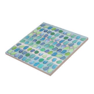 Driftwood de cristal de la playa del mar azulejo cuadrado pequeño