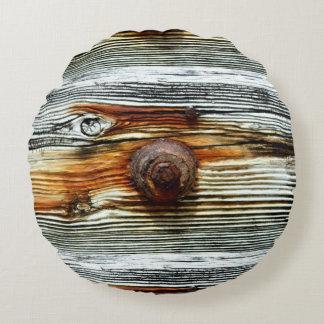 driftwood gris oxidado cojín redondo