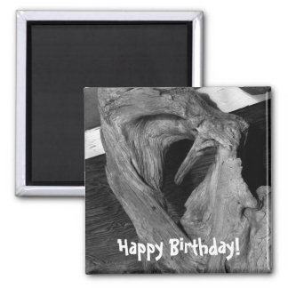 Driftwood Heart; Happy Birthday 2 Inch Square Magnet
